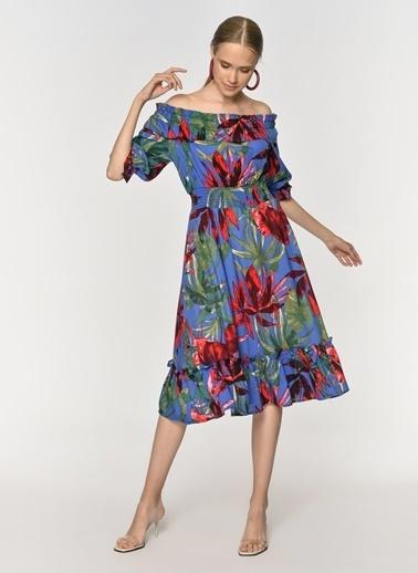 Loves You Carmen Yaka Beli Gipeli Desenli Elbise Saks